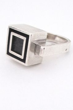 Alton heavy silver & ebony ring #ring #Sweden