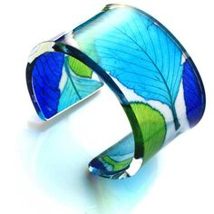 Turquoise and Lime Whitebeam Wide Cuff