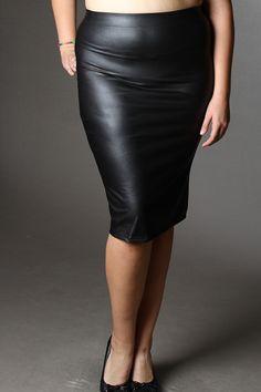 #Plus Size Mid Rise Faux Leather Pencil #Skirt