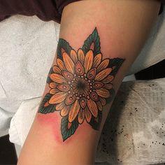 Sunflower mandala, thanks Ruth! #sunflower #mandala #tattoo #queenwest #toronto #newtribe #newtribe - wes.pratt
