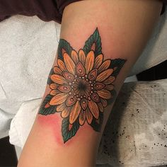Sunflower mandala, thanks Ruth! #sunflower #mandala #tattoo #queenwest #toronto #newtribe #newtribe - wes.pratt