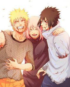Naruto Sasuke and Sakura Team 7 Naruto Shippuden Sasuke, Anime Naruto, Kakashi, Boruto, Naruto E Sakura, Manga Anime, Naruto Und Sasuke, Sakura Haruno, Naruhina