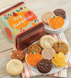 This fall, send a cookie gift to all of your friends. Cheryl's fall-themed cookies and treats are the sweetest way to send a message during the autumn season. Fall Decorated Cookies, Fall Cookies, Cut Out Cookies, Cookie Frosting, Chocolate Frosting, Buttercream Frosting, Tin Gifts, Cookie Gifts, Old Fashioned Sugar Cookies