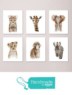 Safari Nursery Print Set of 6 Prints, Wildlife Portraits, Jungle Baby Animal Prints: Lion, Giraffe, Elephant, Zebra, Monkey, Cheetah - Different Sizes Available from Tiny Toes Design by Brett Blumenthal For more zoo themed nursery ideas check out www.ureadyteddy.com