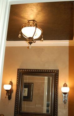 Painted Ceilings. Nice colors for bathroom. I remodeled one with the opposite color placement and it was fabulous too.