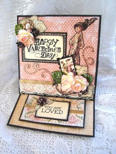 Made this Valentine easel card for a friend using the beautiful Ladies Diary by Graphic 45.