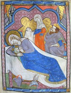 the Nativity -  MS K.26, one of a sequence of 46 Biblical illustrations (c.1270-80) inserted at the front of a fourteenth-century Psalter (English)