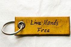 'Live Hands Free' Keychain - Buckskin