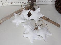 Weihnachtsdeko - Vintage Stoffsterne 3er Set - ein Designerstück von byGretchen bei DaWanda