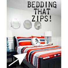 Cute boy bedding! Zipper bedding! Beds that zip!