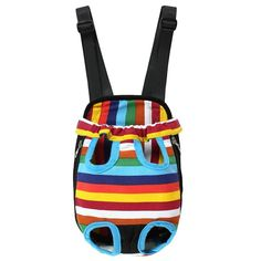E.life Soft Canvas Pet Legs Out Front Carrier Bag, Dog Cat Rabbit Travel Backpack, Portable Outdoor Carrying Bag for Pets - Colorful Strip Pattern -- Check out this great product.