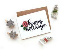 Happy Holidays Poinsettia Small Greeting Card  Handwritten