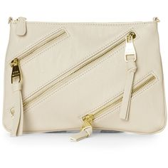 STEVE MADDEN Cream Zippy Crossbody ($25) ❤ liked on Polyvore featuring bags, handbags, shoulder bags, ivories, leather cross body purse, leather shoulder handbags, steve madden purses, leather purses and steve madden crossbody