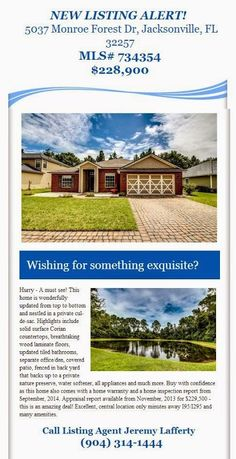 New Listing Alert brought to you by Jeremy Lafferty of INI Realty Investments, Inc., the first 100% Commission Real Estate Office in Jacksonville, FL. www.100RealEstateJax.com