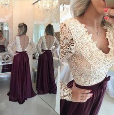 Prom Dresses,Charming Evening Dress,Burgundy Prom Gowns,Lace Prom Dresses,2018 New Prom Gowns,Evening Gown,Backless Party Dresses PD20183965