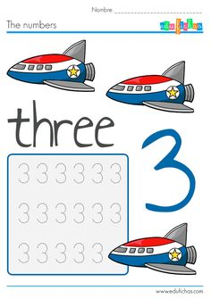 Number worksheets for kids. Space and ships theme.  #kids #preschool #numbers #ingles #aprender #preescolar