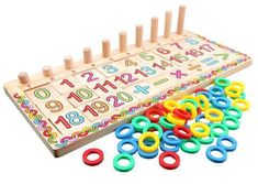 BOHS Montessori Math Operation Cylinder - Early Learning 0-20 Math Counting Board Toy