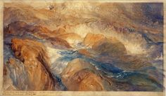 """John Ruskin - Rocks in Unrest. 1886 Inscribed in border, in pen and brown ink, at lower left: """"Drawn from my favorite St. Gothard, for Mod. Painters 4th vol. I (J. Ruskin Brantwood. 23d Aug. 86)"""""""