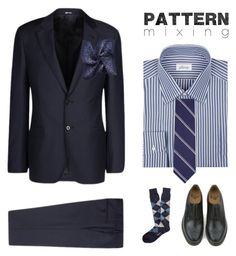 Head to Toe Pattern Mixing by shannon415 on Polyvore featuring polyvore, Brioni, Giorgio Armani, Brooks Brothers, Dr. Martens, Jack Spade, MANGO, men's fashion, menswear, clothing and patternmixing