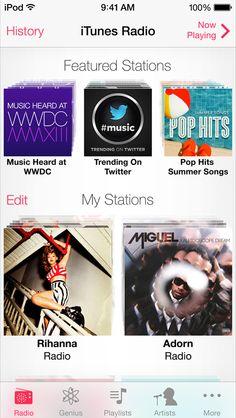 iOS 7 iTunes Radio Ios 7 Design, Apple Launch, Apple Mobile, Summer Songs, Pop Hits, Google Play Music, Twitter Trending, Hit Songs, Itunes