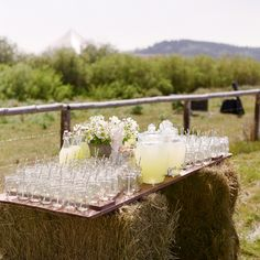 Lemonade provided for guests at the wedding ceremony. Photo: Carrie Patterson | Via Snippet & Ink