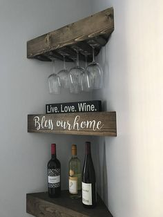 These beautiful and unique floating shelves with wine rack are hand crafted and custom made by the Amish community in South Central Kentucky. Pine is the wood that is used with these shelves and each piece of wood when cut and stained displays its own natural characteristics leaving