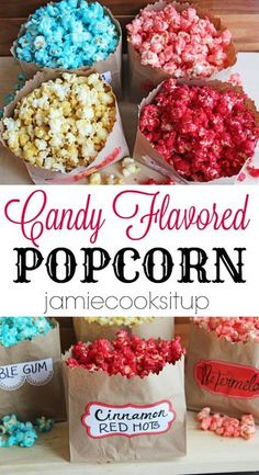 Flavored Sugar Popcorn Candy Flavored Popcorn from Jamie Cooks It Up!Candy Flavored Popcorn from Jamie Cooks It Up! Sugar Popcorn, Popcorn Snacks, Popcorn Bar, Gourmet Popcorn, Colored Popcorn, Sugar Coated Popcorn Recipe, Candy Popcorn Recipe Corn Syrup, Food Cakes, Rock Candy