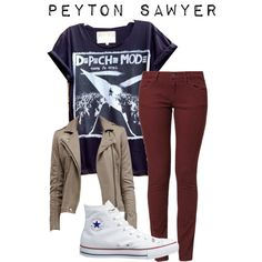 Peyton sawyer one tree hill by claire-robbins on Polyvore featuring Wrangler and Converse