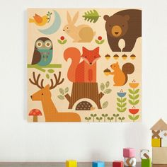 Petit Collage Forest Parade Jumbo Wood Panel. Printed directly on sustainably harvested birch. Made in the U.S.A.