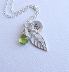 Sterling Silver Leaf, Initial, Peridot Gemstone Trio Necklace -- Bridesmaids Gift -- Birthstone Personalized Jewelry on Etsy, $38.00