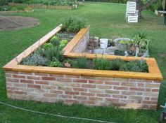 Raised brick planter