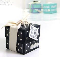 "POOTLES Stampin Up UK Small Lidded Cube Box Video Tutorial 3, Box: 6""×6″, Deckel:4 1/16"" x 4 1/16″, Box: stanzen + falzen bei 2″ an allen 4 Seiten, Deckel bei 1"" an allen 4 Seiten"