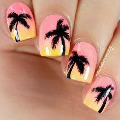 """Products used: Bright coral: """"Flip Flop Fantasy"""" CG Peach: """"East Austin"""" Color Club Mango-yellow: """"Metro Pollen-tin"""" CG Black: acrylic paint Top coat: HK Girl Trendy Nails, Cute Nails, Palm Tree Nail Art, Nails Yellow, Broken Nails, Beach Nails, Cute Nail Designs, Holiday Nails, Perfect Nails"""