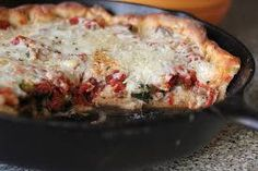 Homemade Skillet Deep Dish Pizza 3-1/2 cups all-purpose flour 1/4 cup cornmeal 1 package (1/4 ounce) quick-rise yeast 1-1/2 teaspoons sugar 1/2 teaspoon salt 1 cup water 1/3 cup olive oil TOPPINGS: 6 cups (24 ounces) shredded part-skim mozzarella cheese, divided 1 can (28 ounces) diced tomatoes, well drained 1 can (8 ounces) tomato sauce …