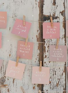 Paint swatches + white sharpie = your DIY wedding guest escort cards! | http://www.weddingpartyapp.com/blog/2014/08/26/10-unique-diy-wedding-guest-escort-cards-seating-charts/