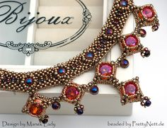 """Necklace """"Drina Victoria"""" beaded by PrettyNett. Beaded Jewelry Patterns, Beading Patterns, Beading Tutorials, Handmade Beads, Handmade Jewelry, Beads And Wire, Bead Weaving, Beaded Embroidery, Making Ideas"""