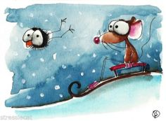 ACEO Original Watercolor Folk Art Whimsy Mouse Crow Snow Day Red Sledge Slope | eBay