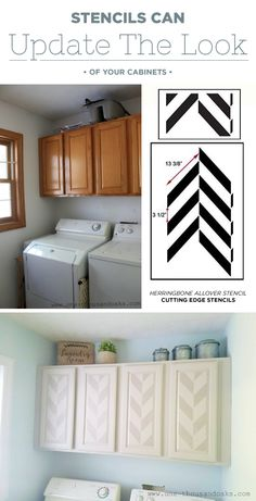 Cutting Edge Stencils Shares Painted And Stenciled Cabinets In A Laundry  Room Using The Herringbone Allover