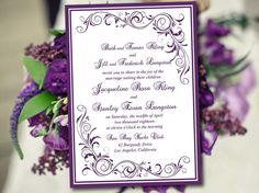 DIY Wedding Invitation Template Eggplant by PaintTheDayDesigns