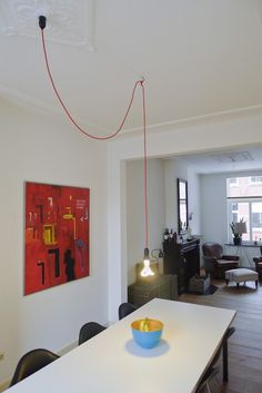 Snoerboer - Bright red textile cable fabric cover electrical cord