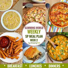 Slimming Eats SP Weekly Meal Plan - Week 2 Want to give an Slimming World SP week a try, but don't know where to start? Well this meal plan is just for you. Extra Easy Slimming World, Sp Meals Slimming World, Slimming World Breakfast, Slimming World Recipes Syn Free, Slimming World Plan, Slimming Eats, Sliming World, Sw Meals, Speed Foods