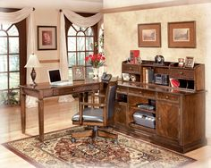 Hamlyn - Home Office Short Desk Hutch by Signature Design by Ashley. Get your Hamlyn - Home Office Short Desk Hutch at Fayetteville Furniture Gallery, Fayetteville NC furniture store. Home Desk, Home Office Desks, Home Office Furniture, Office Decor, Office Setup, Large L Shaped Desk, Royal Furniture, Brown Furniture, Furniture Ideas