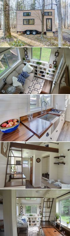 20 craftsman tiny house featuring pine siding with cedar trim on the exterior and white poplar shiplap walls with walnut trim throughout the interior. Modern Tiny House, Tiny House Living, Tiny House Plans, Tiny House Design, Tiny House On Wheels, Tiny House On Trailer, Modern Houses, Home Design, Small Living