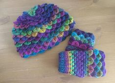 Crochet warm winter hat/toque crochet crocodile stitch/dragon /mermaid scale and fingerless gloves set- bright colors Crochet Crocodile Stitch, Knit Crochet, Crochet Hats, Warm Winter Hats, Lovely Shop, Mermaid Scales, Beanies, Crystal Beads, Bright Colors
