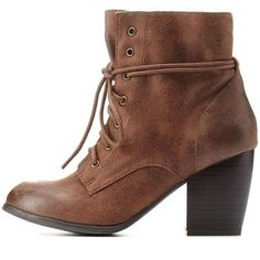 Charlotte Russe Chunky Heel Lace-Up Booties