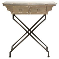 Showcasing scalloped sides and an x-crossed iron base, this eye-catching end table brings a rustic touch to any decor. Set a boldly colored table lamp on top...