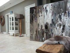 Best grote abstracte moderne schilderijen taupe