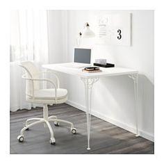 IKEA - FALKHÖJDEN, Työpöytä, valkoinen, , Melamiinipinta on kestävä, likaa hylkivä ja helppo pitää puhtaana.