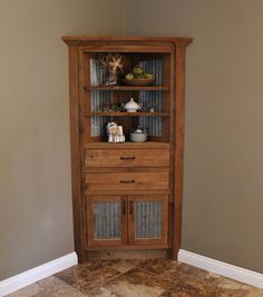 Luxury solid Oak Corner Cabinet