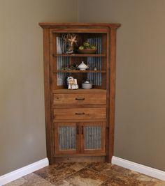 Rustic Corner Cabinet - Reclaimed Barn Wood W/barn Tin